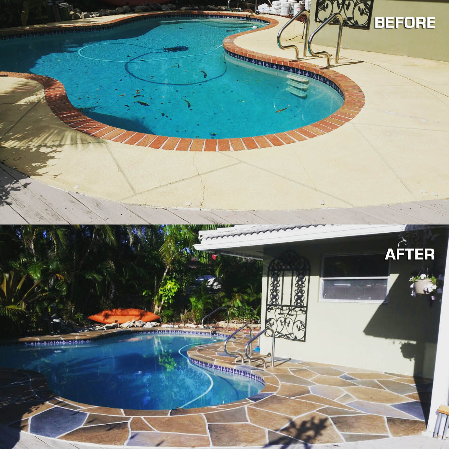 Before after pool deck