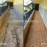 After and Before resurfacing concrete walkway
